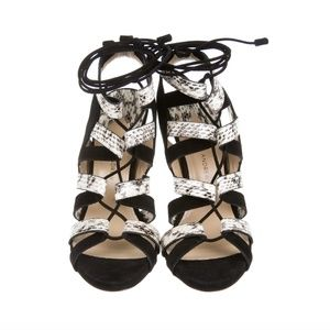 PAUL ANDREW Suede and Snakeskin Sandals
